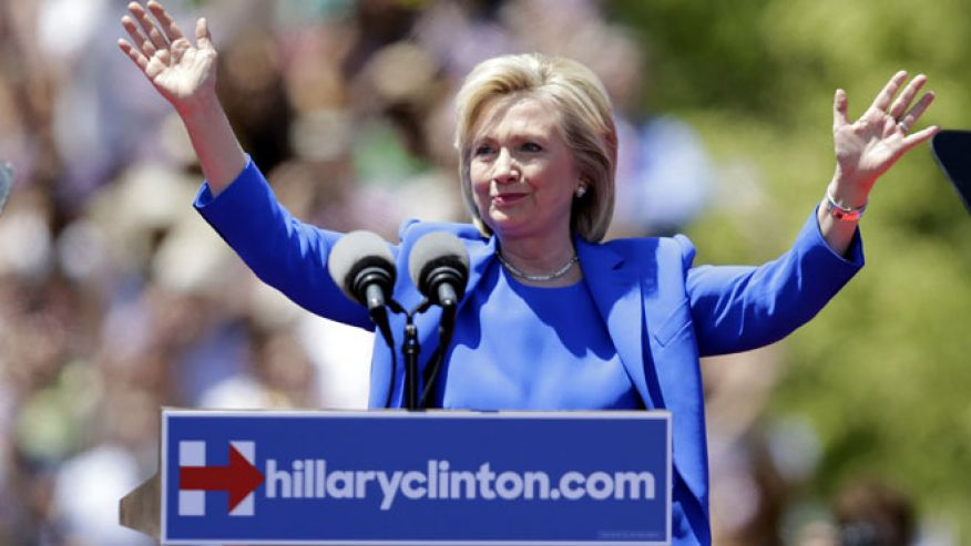 Saturday, June 13, 2015: Hillary Clinton, on Roosevelt Island, speaking at her formal presidential campaign launch, New York, N.Y. (AP)