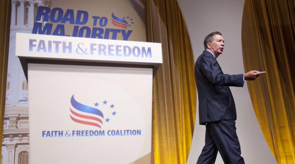 Ohio Gov. John Kasich speaks during the Road to Majority 2015 convention in Washington, Friday, June 19, 2015. (AP Photo/Pablo Martinez Monsivais)