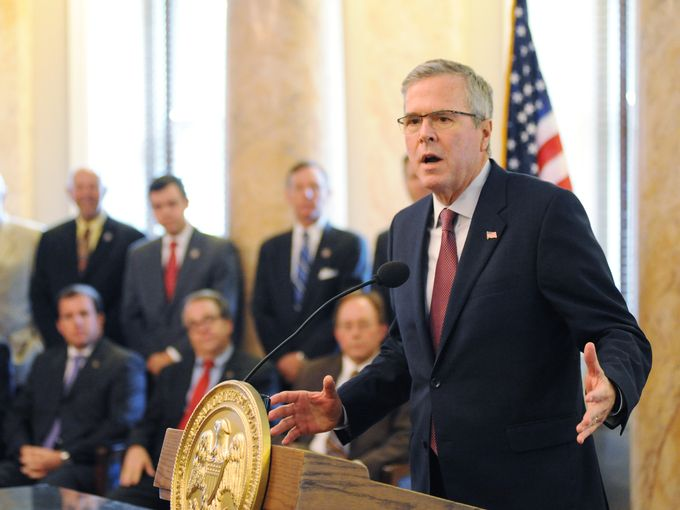 Former Florida Governor Jeb Bush makes remarks while at the state Capitol on Thursday joining Gov. Phil Bryant at a bill-signing ceremony for the Equal Opportunity for Students with Special Needs Act passed by the Legislature this year. Joe Ellis/The Clarion-Ledger