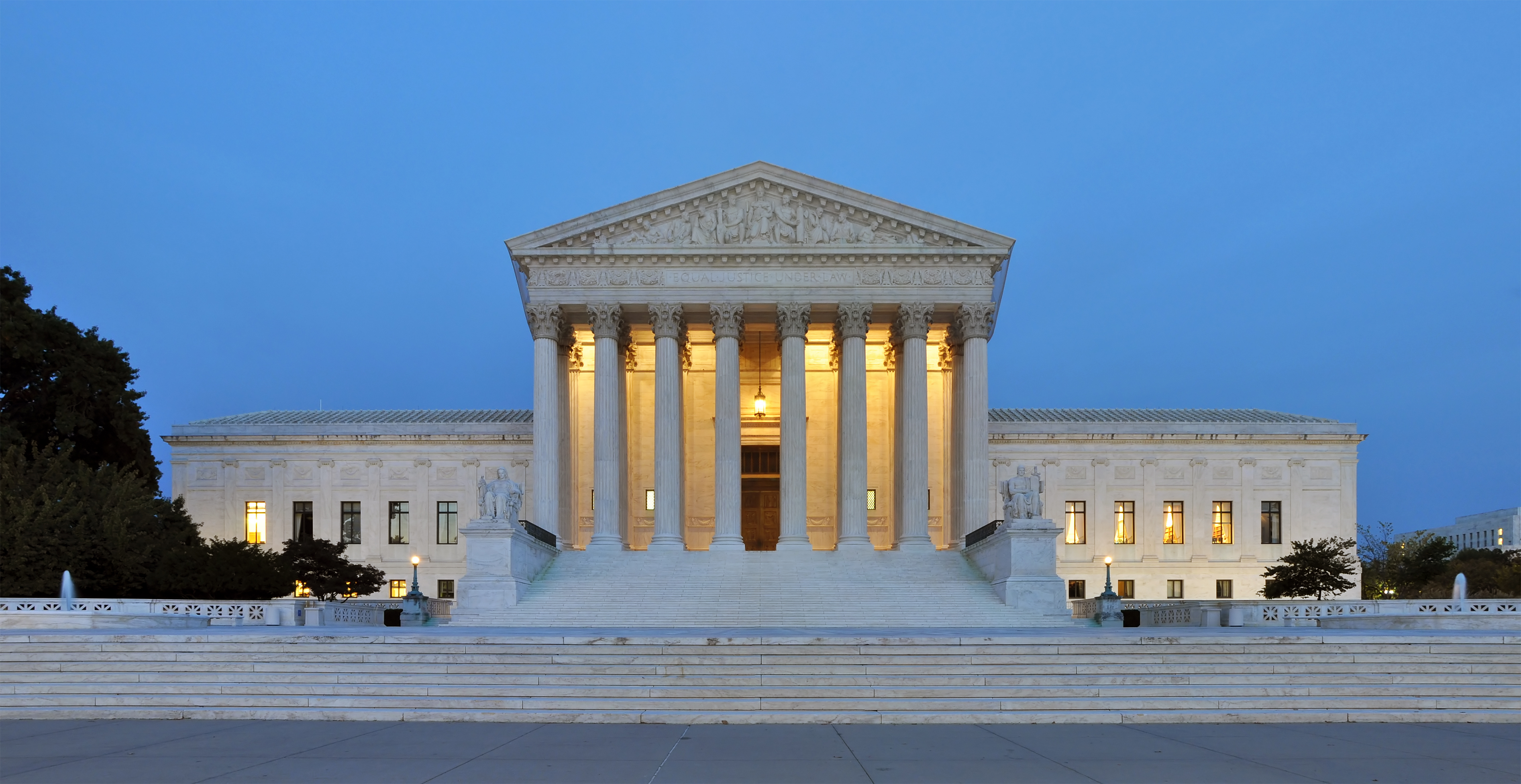 Panorama of United States Supreme Court Building at Dusk