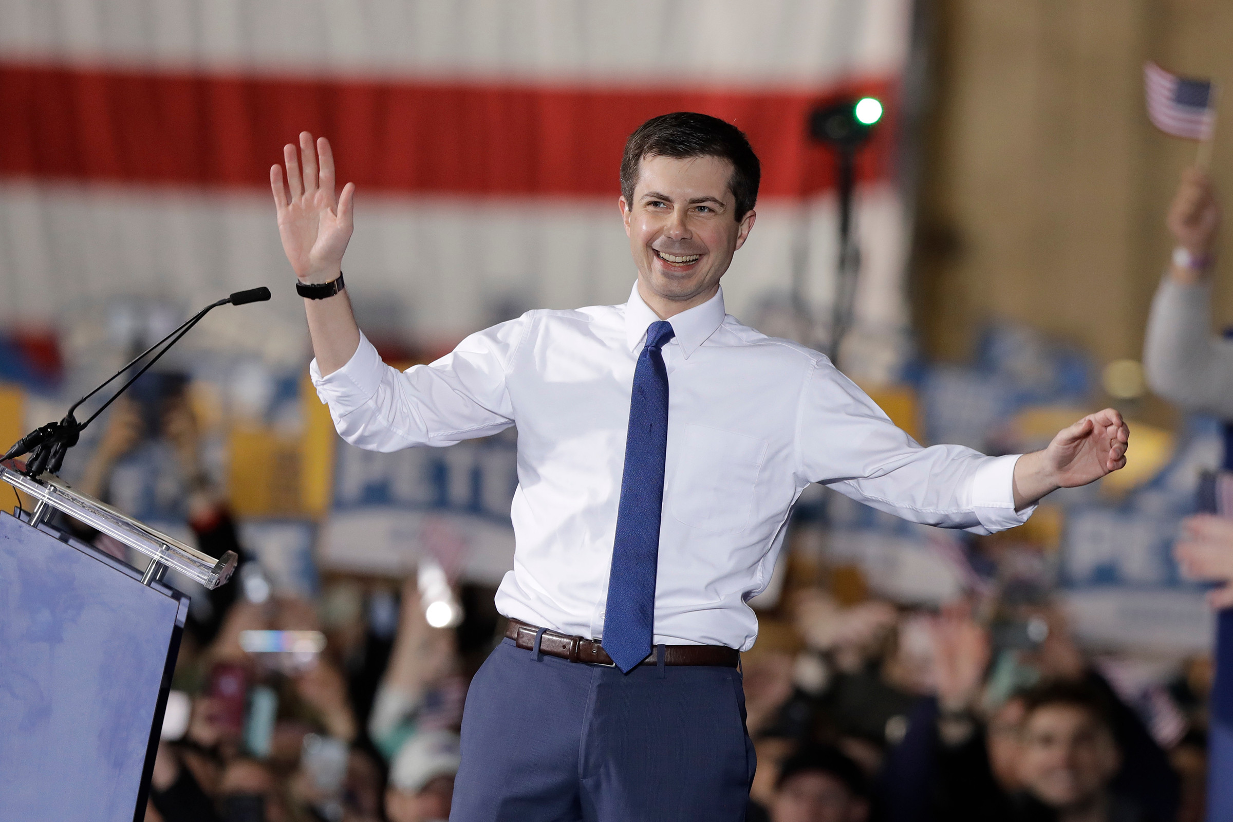 Mayor Pete Buttigieg announces presidential campaign to a large crowd in South Bend, Indiana.