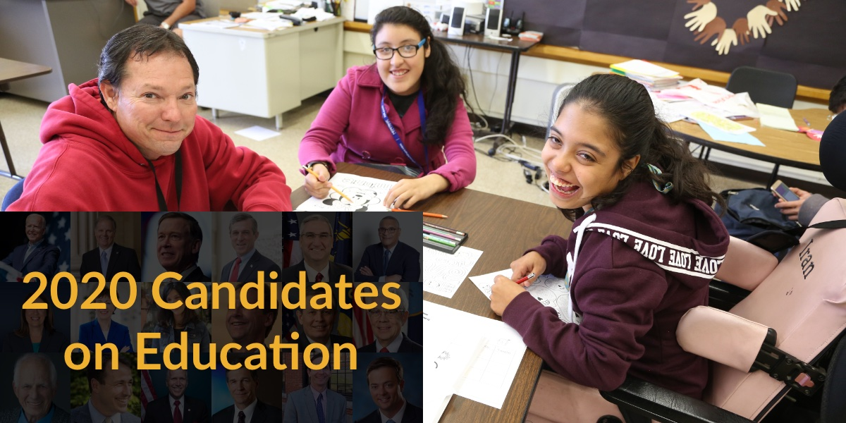 Three students with disabilities working at a table together. Text: 2020 Candidates on Education. Blurred headshots of 18 2020 candidates in background