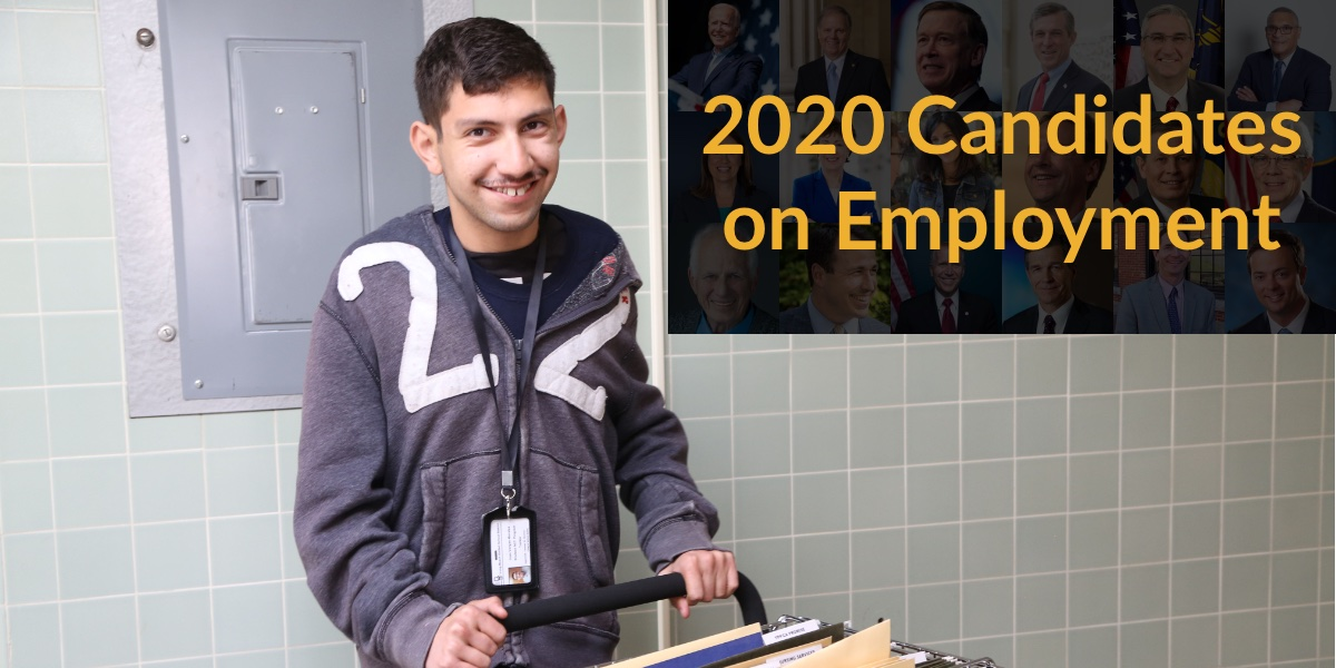 A man with a disability pushing a cart in a school. Text: 2020 Candidates on Employment. Blurred headshots of 18 2020 candidates in background