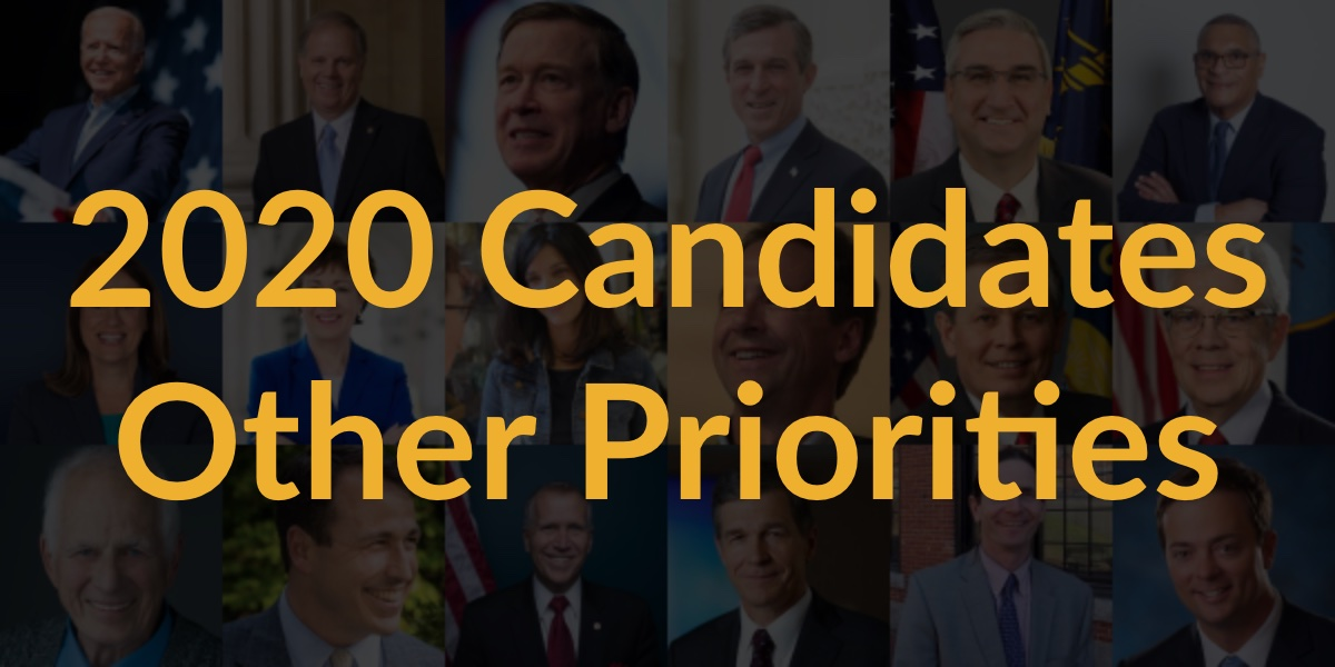Headshots of 18 candidates for Governor, Senate and President who completed questionnaire. Text: 2020 Candidates Other Priorities