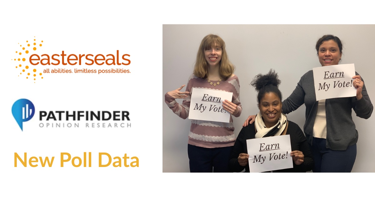 "Logos for Easterseals and Pathfinder. Text: New Poll Data. Photo of three RespectAbility team members holding up signs that say ""Earn My Vote""."