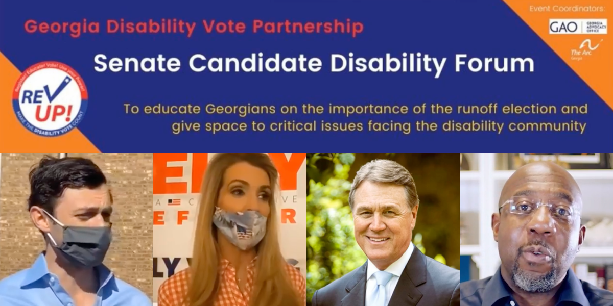 Poster advertising Georgia Disability Vote Partnership Senate Candidate Disability Forum. Photos of four Senate candidates from the forum.