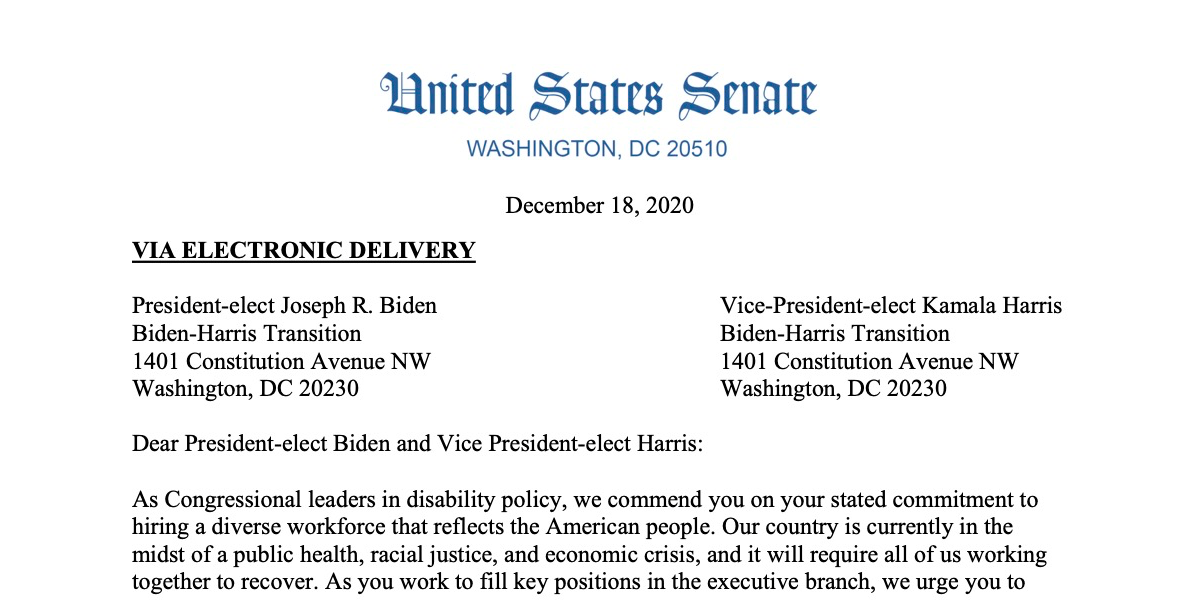 Screenshot of a letter sent by Tammy Duckworth and Jim Langevin to the Biden-Harris Transition team