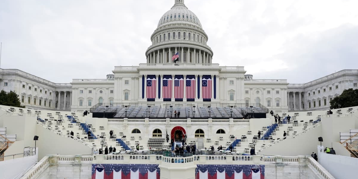 The U.S. capitol stage set up for the Inauguration of Joe Biden