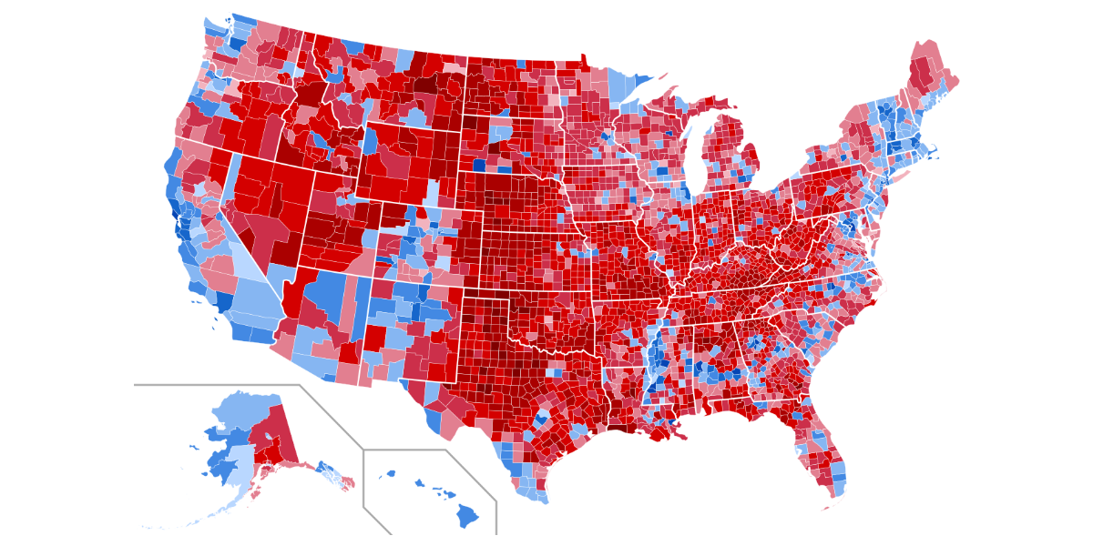 Map of the United States color coded by 2020 presidential election results