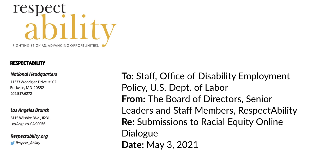 Top of RespectAbility's testimony to ODEP on RespectAbility letterhead